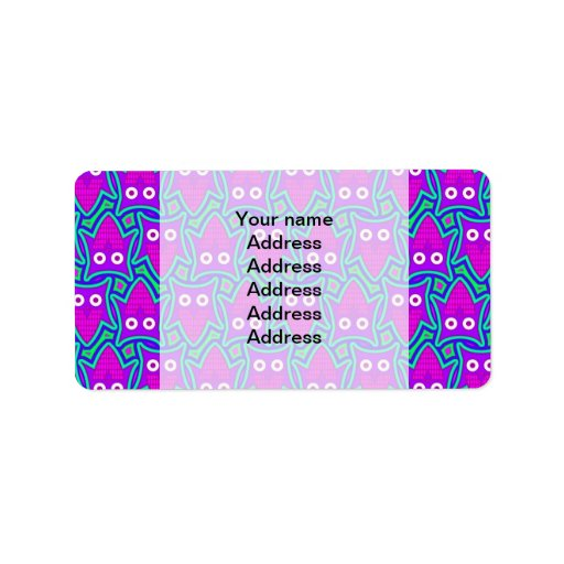 Purple and Turquoise Psychedelic Owl Pattern Address Label
