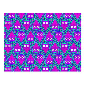 Purple and Turquoise Psychedelic Owl Pattern Postcard