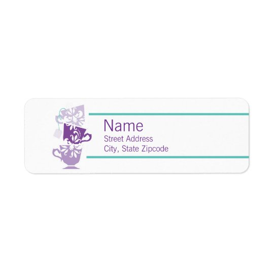 Purple and Turquoise Tea Return Address Label