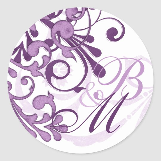 Purple and White Abstract Floral Envelope Seal