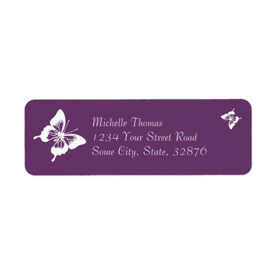 Purple and White Butterfly Wedding Return Address Label