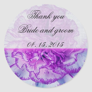 Purple and white Carnation Wedding Favor  Tag