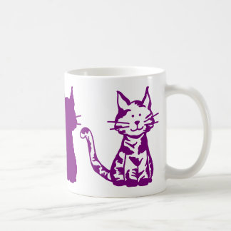 Purple and White Cats Pattern Coffee Mug