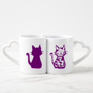 Purple and White Cats Pattern Coffee Mug Set