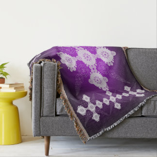 Purple And White Celtic Throw