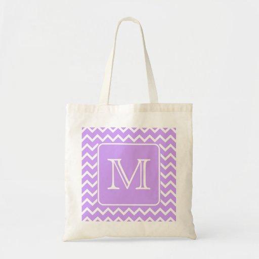 Purple and White Chevron Design. Custom Monogram. Bags