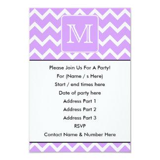 Purple and White Chevron Design. Custom Monogram. Card