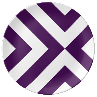 Purple and White Chevrons Porcelain Plates