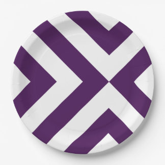 Purple and White Chevrons 9 Inch Paper Plate