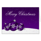 Purple and White Christmas Snowflake Ornaments Card