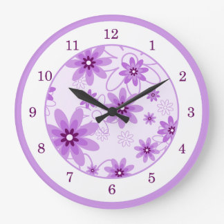 Purple and White Daisies Large Clock