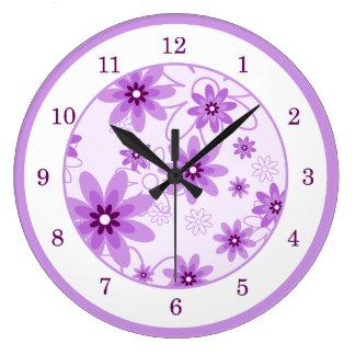 Purple and White Daisies Wallclocks