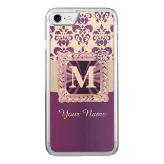 Purple and white damask monogram carved iPhone 7 case