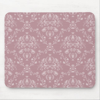 Purple and White Damask Mouse Pad