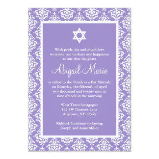 "Purple and White Damask Star of David Bat Mitzvah 5"" X 7"" Invitation Card"
