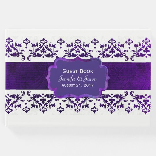 Purple and White Damask Wedding Guest Book