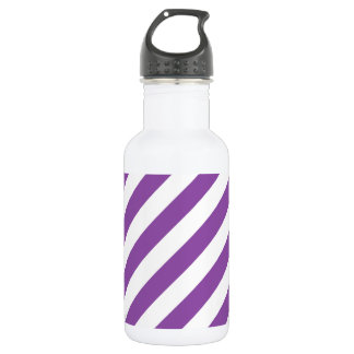 Purple And White Diagonal Stripes Pattern 532 Ml Water Bottle