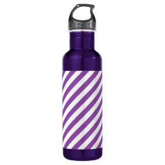 Purple And White Diagonal Stripes Pattern 710 Ml Water Bottle