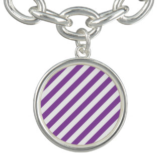 Purple And White Diagonal Stripes Pattern Bracelets