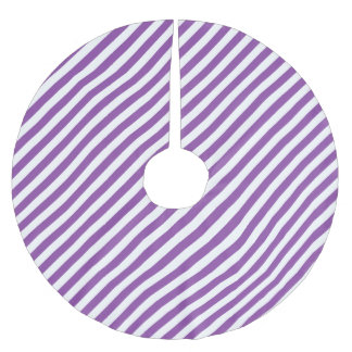 Purple And White Diagonal Stripes Pattern Brushed Polyester Tree Skirt