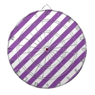 Purple And White Diagonal Stripes Pattern Dartboard