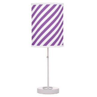 Purple And White Diagonal Stripes Pattern Desk Lamps
