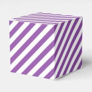Purple And White Diagonal Stripes Pattern Favor Box