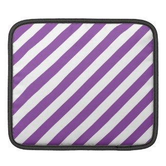 Purple And White Diagonal Stripes Pattern iPad Sleeve