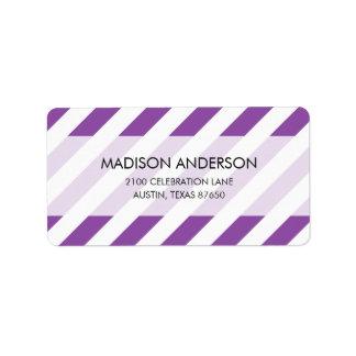 Purple And White Diagonal Stripes Pattern Label