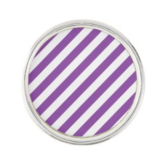 Purple And White Diagonal Stripes Pattern Lapel Pin