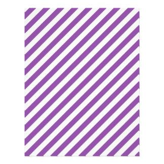 Purple And White Diagonal Stripes Pattern Letterhead