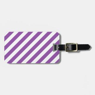 Purple And White Diagonal Stripes Pattern Luggage Tag