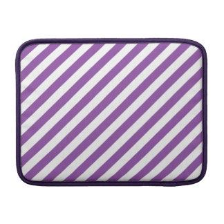 Purple And White Diagonal Stripes Pattern MacBook Sleeve