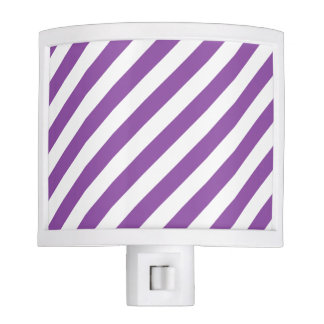 Purple And White Diagonal Stripes Pattern Night Lite