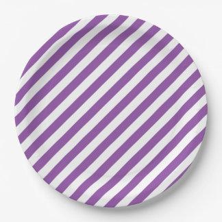 Purple And White Diagonal Stripes Pattern Paper Plate