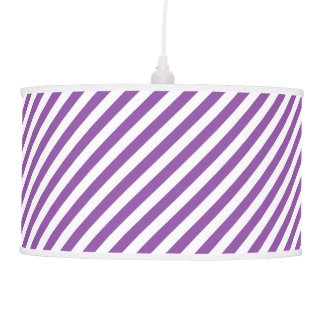 Purple And White Diagonal Stripes Pattern Pendant Lamp