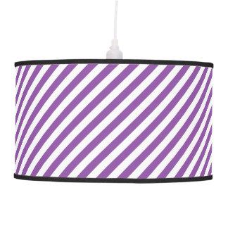 Purple And White Diagonal Stripes Pattern Pendant Lamp
