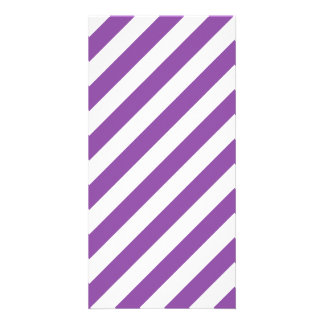 Purple And White Diagonal Stripes Pattern Personalized Photo Card
