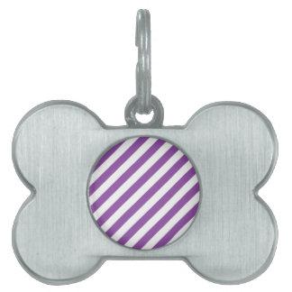 Purple And White Diagonal Stripes Pattern Pet ID Tag