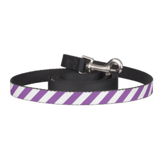 Purple And White Diagonal Stripes Pattern Pet Lead