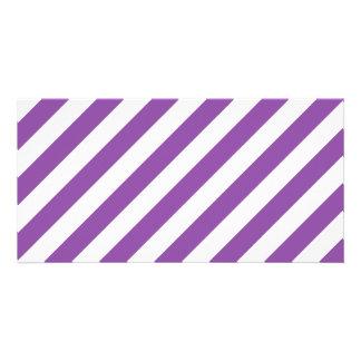 Purple And White Diagonal Stripes Pattern Photo Card Template