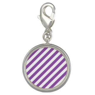Purple And White Diagonal Stripes Pattern Photo Charm