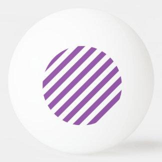 Purple And White Diagonal Stripes Pattern Ping Pong Ball