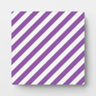 Purple And White Diagonal Stripes Pattern Plaque