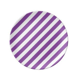 Purple And White Diagonal Stripes Pattern Plate