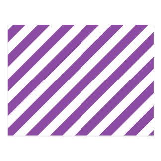 Purple And White Diagonal Stripes Pattern Postcard