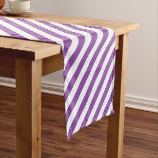 Purple And White Diagonal Stripes Pattern Short Table Runner
