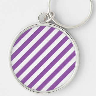 Purple And White Diagonal Stripes Pattern Silver-Colored Round Keychain
