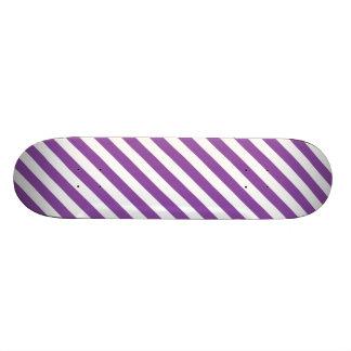 Purple And White Diagonal Stripes Pattern Skateboards