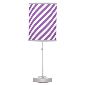 Purple And White Diagonal Stripes Pattern Table Lamp
